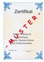 Zigeunerkarten Fernkurs mit  abscließender Prüfung Kartenlegenzertifikat